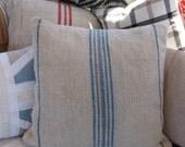 vintage blue stripe hungarian grain sack square pillow - limited quantity