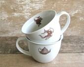 Mug Pair Victorian Silhouettes Teapots
