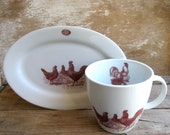 Mug and Plate with Chickens Rooster and Egg