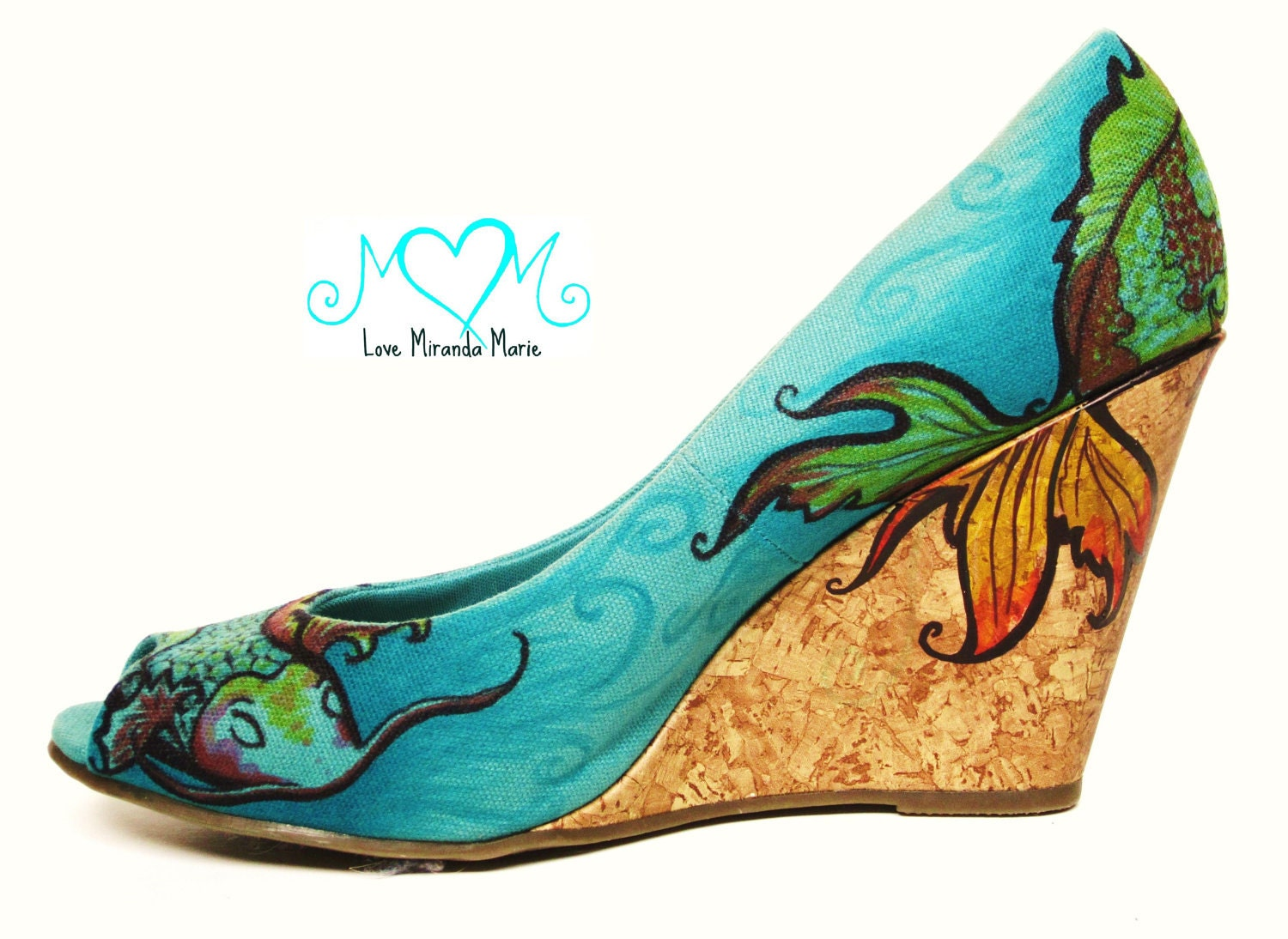 Hand painted shoes koi fish design beach by lovemirandamarie for Shoes with fish in them