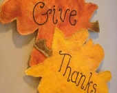 """Fall leaves """"Give Thanks"""" painted burlap door hanging"""
