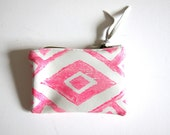 Extra-small hot pink and white hand-printed leather diamonds clutch / wallet