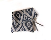 Medium grey and navy hand-printed leather diamonds fold-over clutch