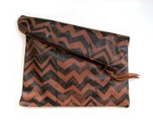 Large brown and black hand-printed leather zig zag clutch