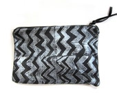 Medium black and silver hand-printed leather zig zag clutch
