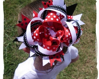 Custom Boutique Girls Hairbow Red Black White Girls Toddler Baby Women Spikey Loopy OTT Hairbow
