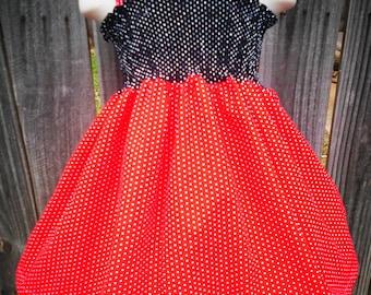 Custom Boutique Girls Clothing Shirred Dress Red Black Reversible Knot Dress OTT Hairbow Girs 7 8 9 10 11 12 13 14
