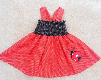 Lady Bug Birthday Dress and Boutique Hairbow Childrens Boutique Clothing Boutique Hairbow 6m 12m 18m 2T 3T 4T 5 6 7/8 9/10 11/12