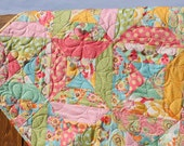 Whimsical Pink, Yellow, Green & Blue Baby Girl Quilt