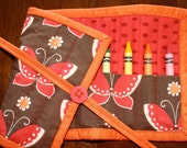 Butterfly Crayon Roll Up, Girl Crayon Holder, Crayon Tote, Freebird, Red, Brown, Art Supplies