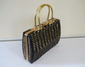 RESERVED for Jennie Lee - Vintage 1950's 60's Black & Gold Woven Wicker Style Box Handbag Purse British Hong Kong