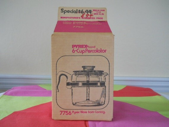 Vintage Moderne Pyrex Percolator 6 Cup NOS w/ Box Corning Glass
