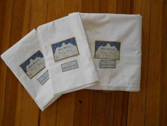 Set Vintage NOS Dan River Dream House Percale Combed Cotton Sheet Pillow Cases Unused w/ Tags