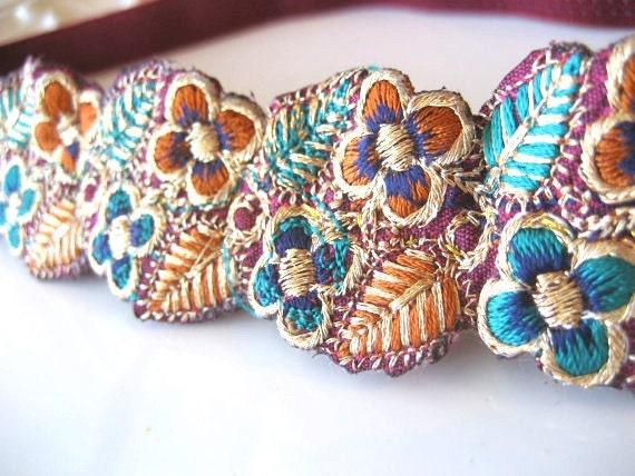 Embroidered Ribbon Elastic Headband Beaded Trim