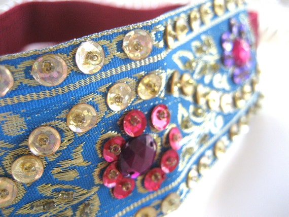 Embroidered Ribbon Headband Elastic Beaded Trim