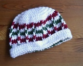 white, green and red crocheted beanie--READY TO SHIP--Reduced Price!!