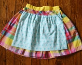Girl's Rainbow plaid reversible apron skirt--Size 6--READY TO SHIP--Reduced Price!!