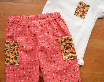 Geometric Big Butt Baby Pant Set--Size 6-12M--READY TO SHIP--Reduced Price!!