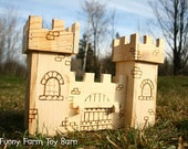 Toy Castle Dollhouse Wooden Play Kids Medieval Towers Natural Waldorf