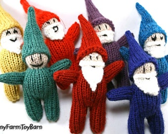 Rainbow Gnome Set / Snow White's Seven Dwarfs Emotive Elves Natural Waldorf Easter Basket Toys