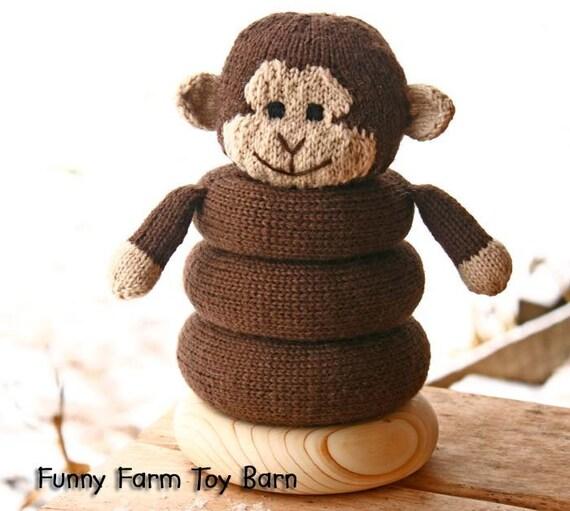 Baby Toy Ring Stacker Monke Stuffed Animal Soft Teething Natural Waldorf Inspired Play