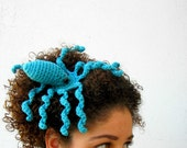 Octopeep Fascinator Hair Clip. Tentacle. Headpiece. Biology Zoology Geek. Whimsical. Odd. Nerdy. Playful. Octopus. Teal Blue.