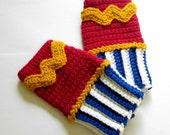Geeky Gauntlets. Wonder Woman Inspired Wristwarmers. Superhero Fingerless Gloves. Super Hero Series. Crochet Justice League Comics Cosplay.