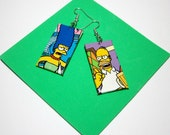 Simpsons Earrings. Comic Capture. Homer and Marge. Comic Collage. Wood Base. TV Show. Doh.