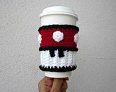 Power Coffee Cozy. Mario Mushroom Inspired Coffee Sleeve. Video Game Super Mushroom. Crochet Red Cosplay Accessory.