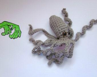 Octopus Statement Fascinator. Fun Whimsical Sea Creature Hair Clip. Nerdy Tentacle Geek Barrette. Fantasy Costume Amigurumi Headpiece. Grey.