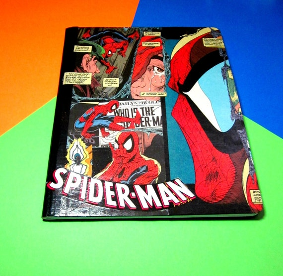 Spiderman Notebook Journal. Upcycled. Lined Paper. Comic Collage. Large Size Hard Cover. OOAK. Peter Parker. Marvel Comics.