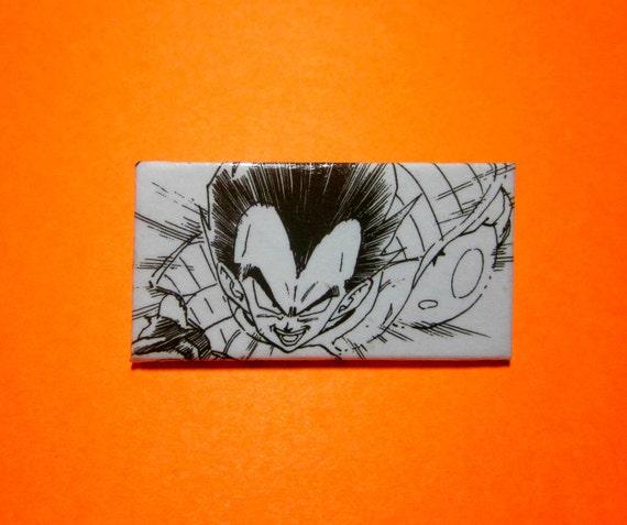 Dragonball Vegeta Button Brooch Pin. Comic Capture. Comic Collage Upcycled. Wood Base. Nickel Free. Saiyan Pride.