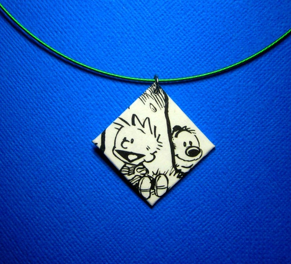 Calvin and Hobbes Pendant. Comic Capture Necklace. Comic Strip. Funnies. Upcycled Comic Book Necklace. Latex Coated Stainless Steel.