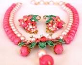 Miriam Haskell Style Rhinestone Necklace Set  Pink