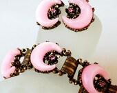 Pink Rhinestone Bracelet Earring Set