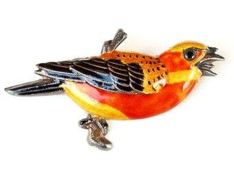 Sterling Silver Enamel Bird Brooch Pendant