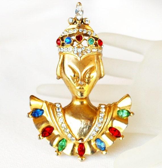 Reinad Rhinestone Brooch Asian Princess