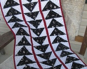 SALE - Black and White Flying Geese Quilted Table Runner