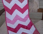 SALE - Pink and White Chevron Quilted Table Runner