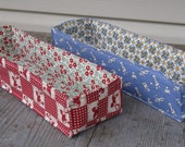 Quilted Mini Fabric Organizer Baskets - Set of Two