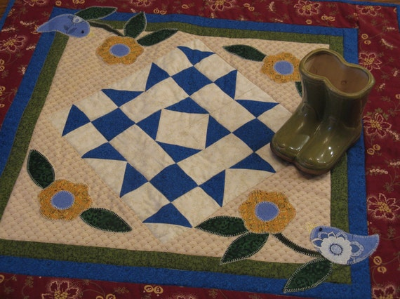 Little Bluebirds Appliqued/Quilted Table Topper