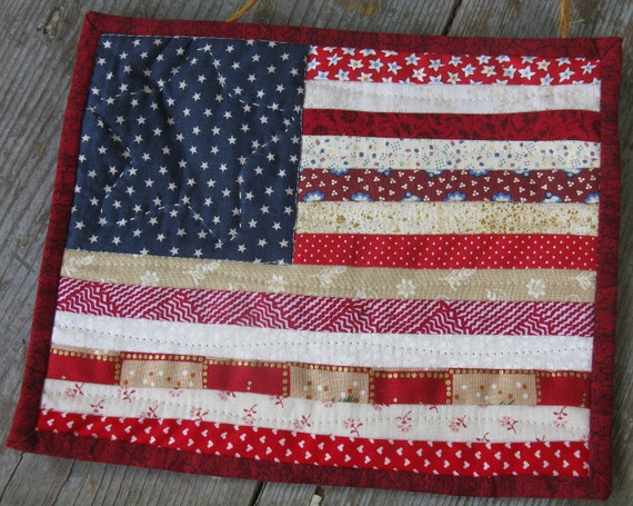 Scrappy American Flag Hand Quilted Wall Hanging/Mug Rug