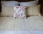 organic, screen printed queen sized duvet and pillowcase set in almond birch print