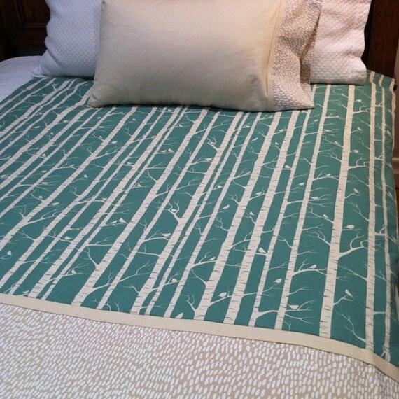 screen printed aqua birch print organic sleep set - single duvet and pillowcase