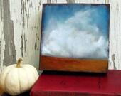 Big sky plains landscape thunderstorm cloud original oil painting - Stormscape series five