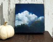 Original oil landscape painting thunderstorm treetop woods - Stormscape series nine