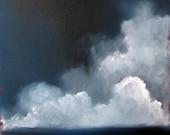 Seascape ocean thunderstorm dark landscape original oil painting - Stormscape series twentythree