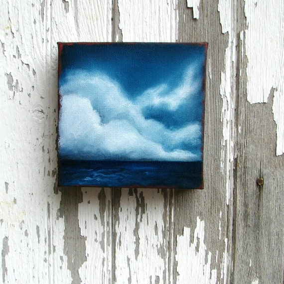 Seascape ocean thunderstorm clouds father's day gift home decor wall art original oil painting - Stormscape series fortyseven