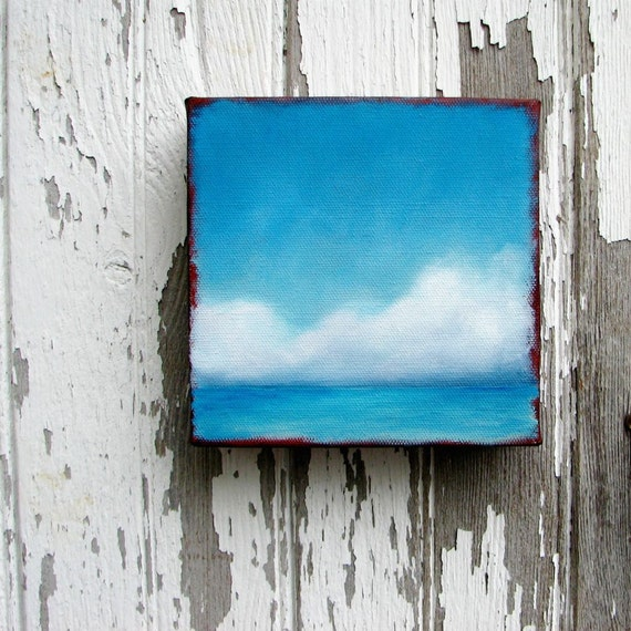 Seascape tropical ocean clouds nautical home decor wall art original oil painting - Stormscape series fortytwo