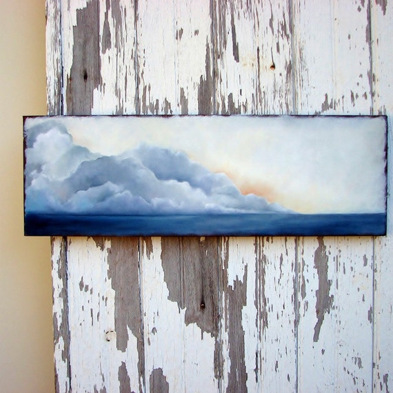 Seascape original oil painting thunderstorm clouds at sunset - Sinking Memories
